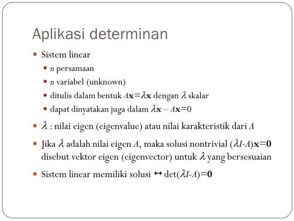 Aplikasi determinan Sistem linear n persamaan n variabel (unknown) ditulis dalam bentuk Ax= x dengan skalar dapat dinyatakan juga dalam x – Ax=0 : nil