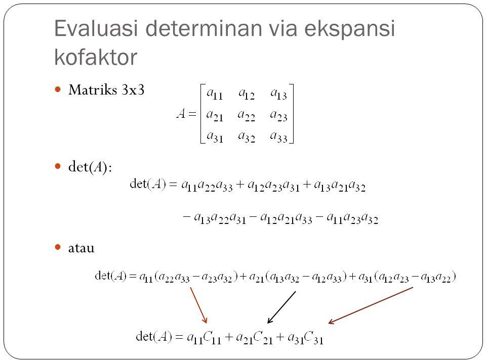 Evaluasi determinan via ekspansi kofaktor Matriks 3x3 det(A): atau