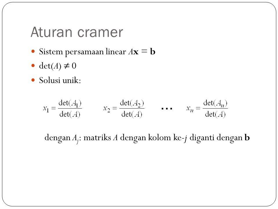Aturan cramer Sistem persamaan linear Ax = b det(A) ≠ 0 Solusi unik:, ∙∙∙ dengan A j : matriks A dengan kolom ke-j diganti dengan b
