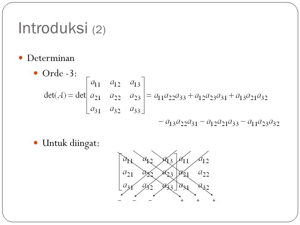 Introduksi (2) Determinan Orde -3: Untuk diingat: + + + – – –