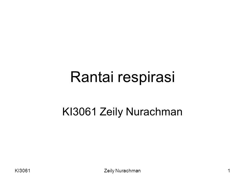 KI3061Zeily Nurachman12 Kompleks IV 2 proton dipompa ke luar ½O 2 = 2 proton dipompa