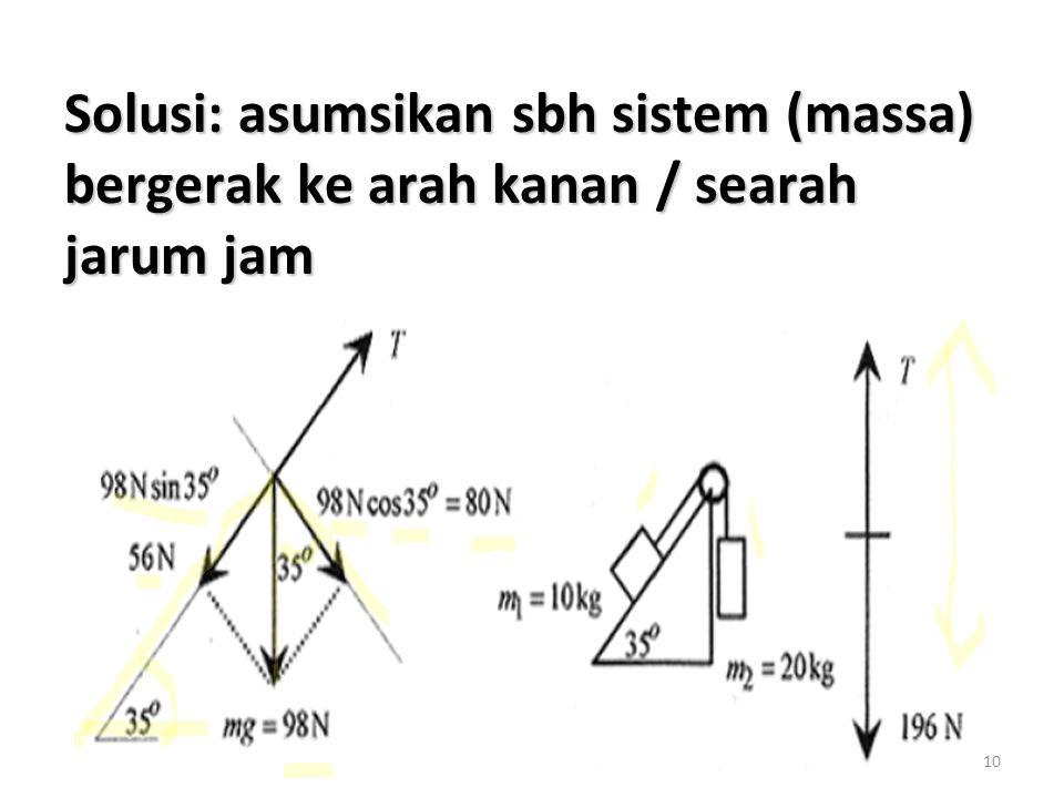 10 Solusi: asumsikan sbh sistem (massa) bergerak ke arah kanan / searah jarum jam