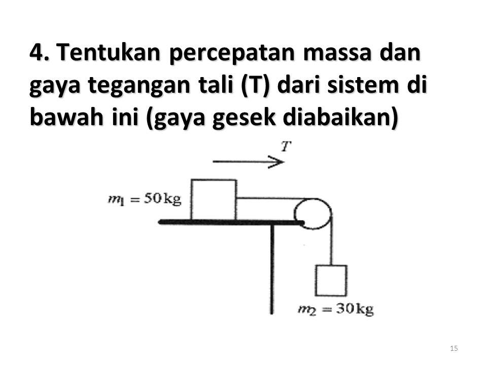15 4. Tentukan percepatan massa dan gaya tegangan tali (T) dari sistem di bawah ini (gaya gesek diabaikan)