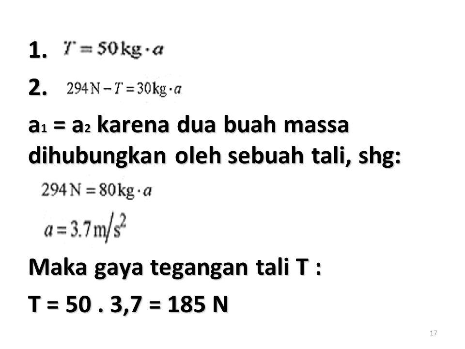17 1.2. a 1 = a 2 karena dua buah massa dihubungkan oleh sebuah tali, shg: Maka gaya tegangan tali T : T = 50. 3,7 = 185 N