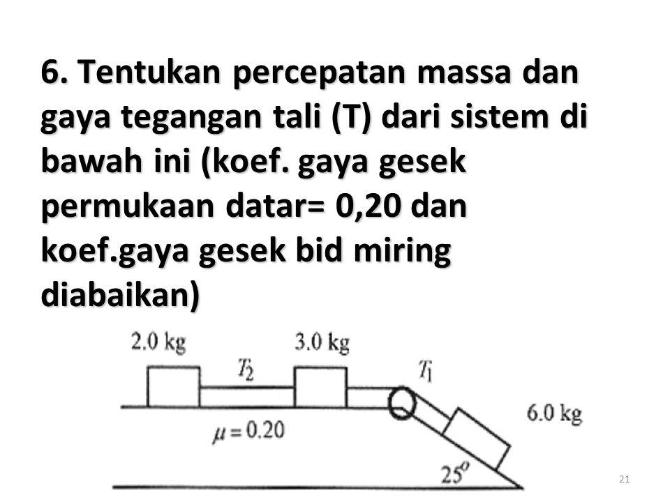 21 6. Tentukan percepatan massa dan gaya tegangan tali (T) dari sistem di bawah ini (koef. gaya gesek permukaan datar= 0,20 dan koef.gaya gesek bid mi