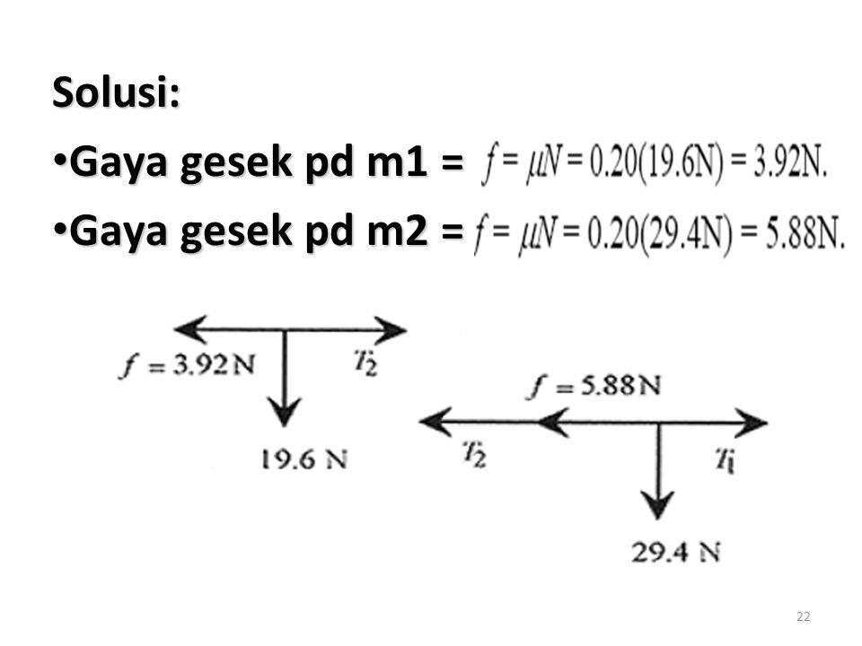 22 Solusi: Gaya gesek pd m1 = Gaya gesek pd m1 = Gaya gesek pd m2 = Gaya gesek pd m2 =