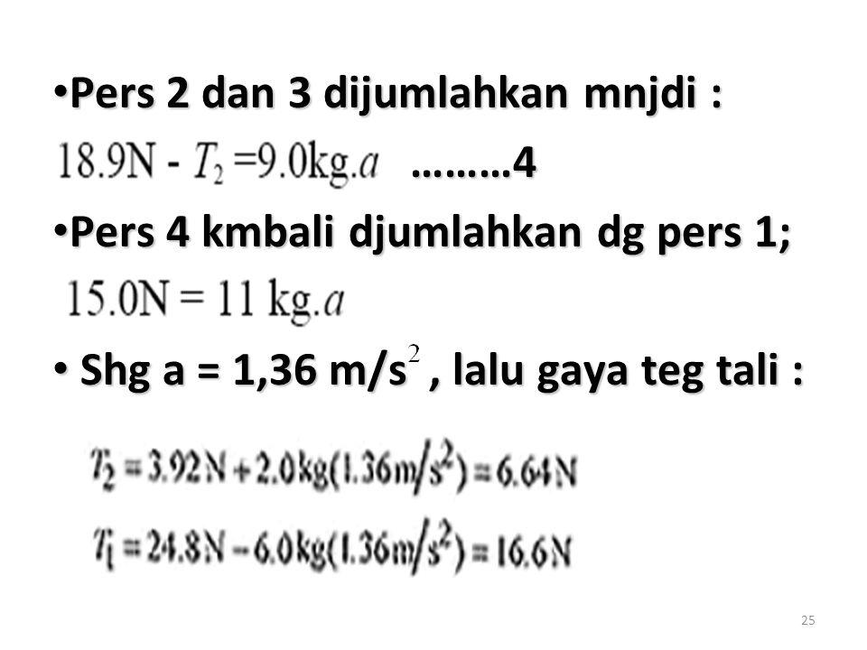 25 Pers 2 dan 3 dijumlahkan mnjdi : Pers 2 dan 3 dijumlahkan mnjdi : ………4 ………4 Pers 4 kmbali djumlahkan dg pers 1; Pers 4 kmbali djumlahkan dg pers 1;