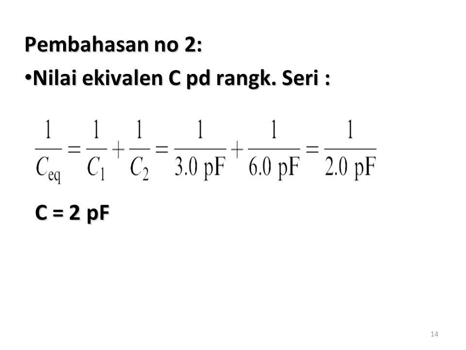 14 Pembahasan no 2: Nilai ekivalen C pd rangk.Seri : Nilai ekivalen C pd rangk.