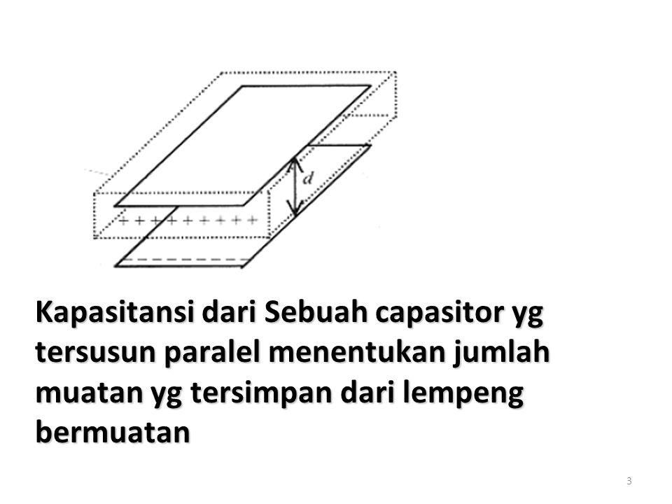 3 Kapasitansi dari Sebuah capasitor yg tersusun paralel menentukan jumlah muatan yg tersimpan dari lempeng bermuatan