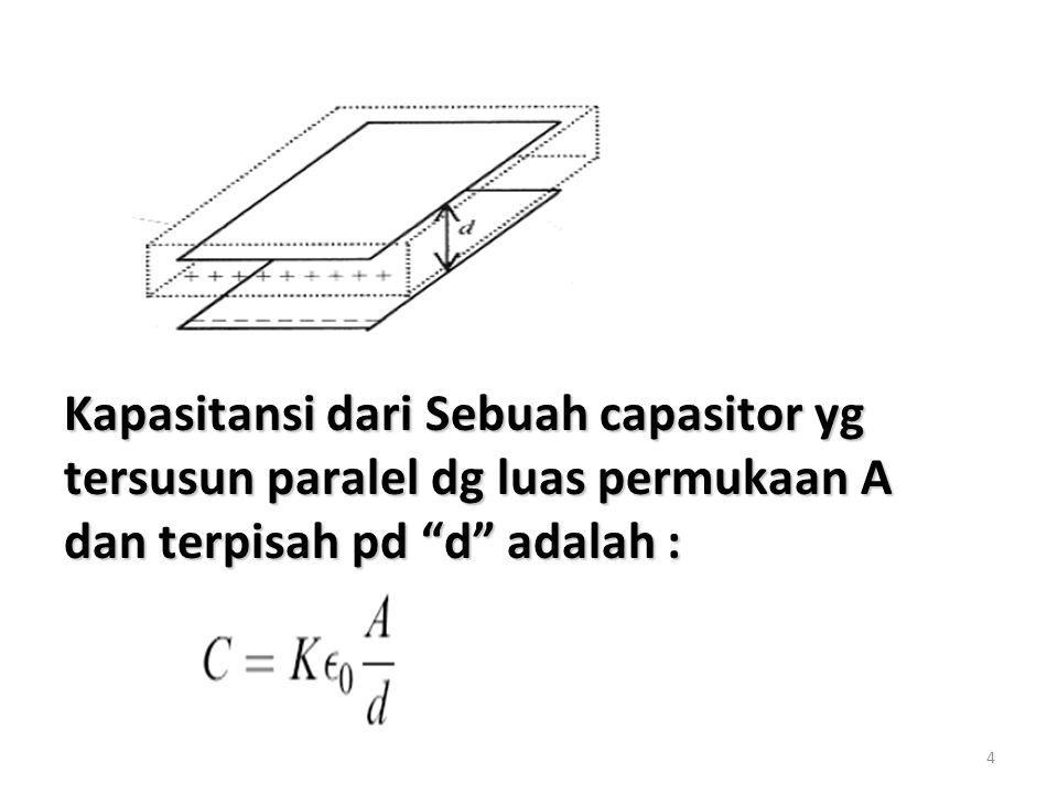 4 Kapasitansi dari Sebuah capasitor yg tersusun paralel dg luas permukaan A dan terpisah pd d adalah :