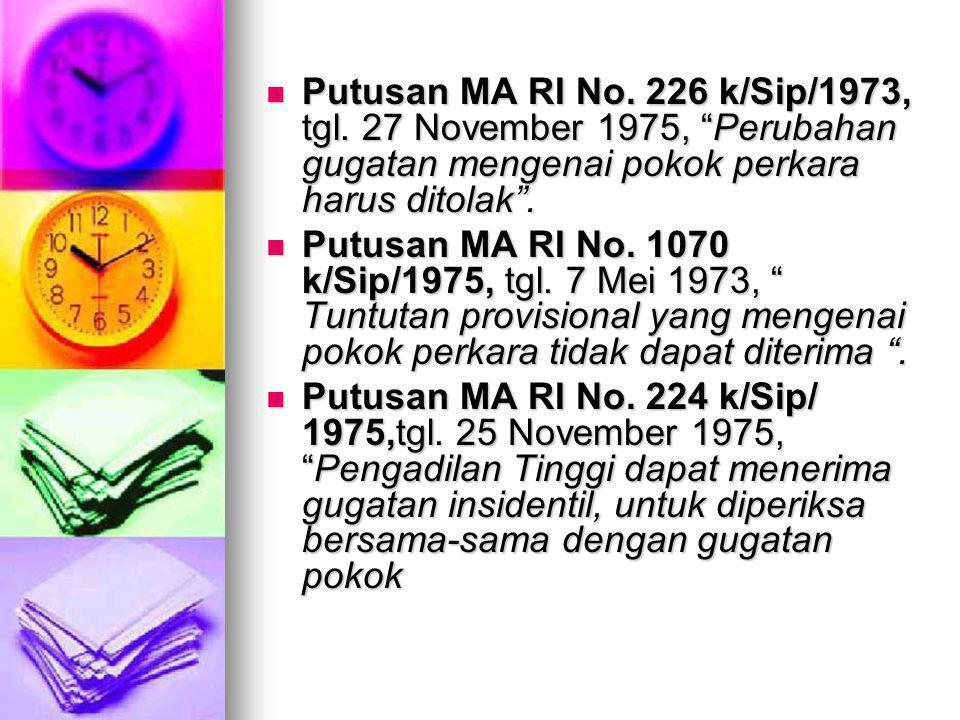 """Putusan MA RI No. 226 k/Sip/1973, tgl. 27 November 1975, """"Perubahan gugatan mengenai pokok perkara harus ditolak"""". Putusan MA RI No. 226 k/Sip/1973, t"""