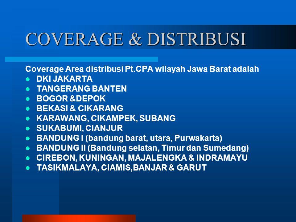 COVERAGE & DISTRIBUSI Coverage Area distribusi Pt.CPA wilayah Jawa Barat adalah DKI JAKARTA TANGERANG BANTEN BOGOR &DEPOK BEKASI & CIKARANG KARAWANG,
