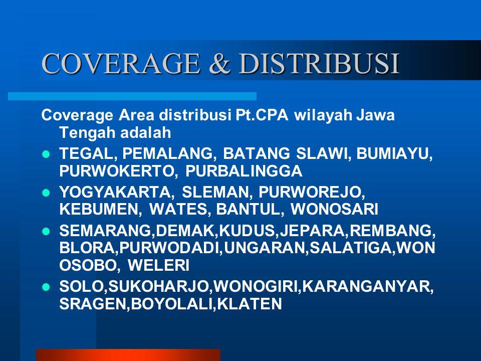 COVERAGE & DISTRIBUSI Coverage Area distribusi Pt.CPA wilayah Jawa Tengah adalah TEGAL, PEMALANG, BATANG SLAWI, BUMIAYU, PURWOKERTO, PURBALINGGA YOGYA