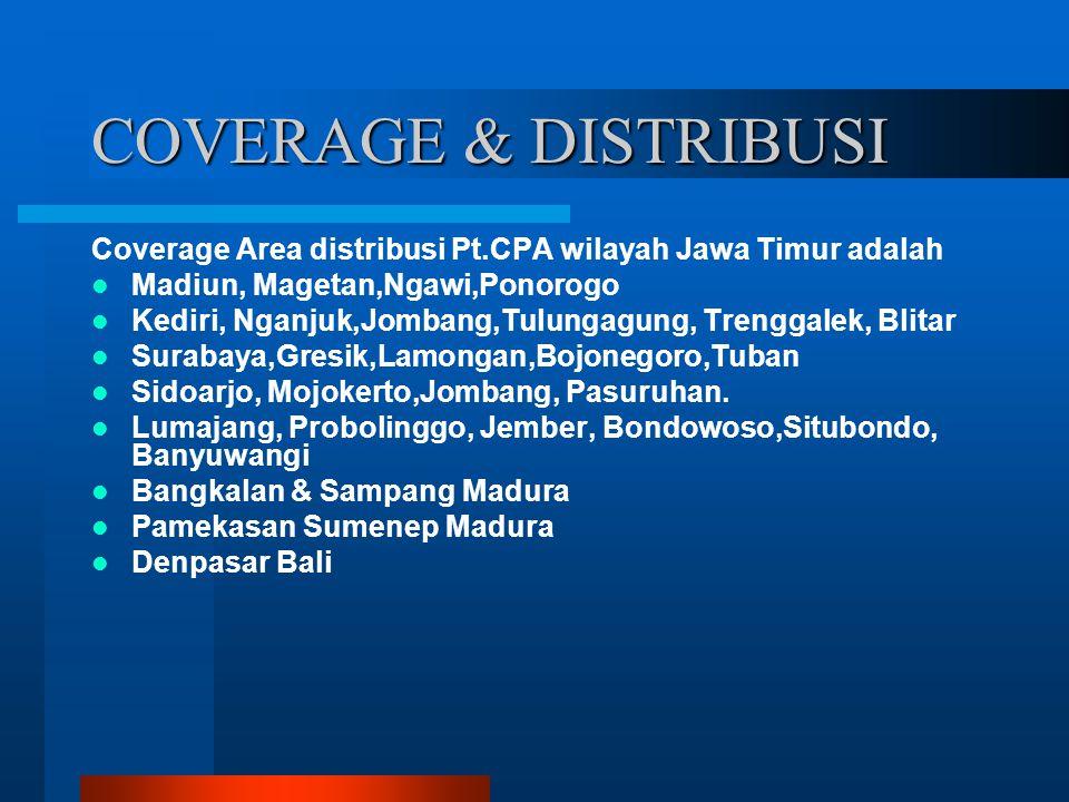 COVERAGE & DISTRIBUSI Coverage Area distribusi Pt.CPA wilayah Jawa Timur adalah Madiun, Magetan,Ngawi,Ponorogo Kediri, Nganjuk,Jombang,Tulungagung, Tr