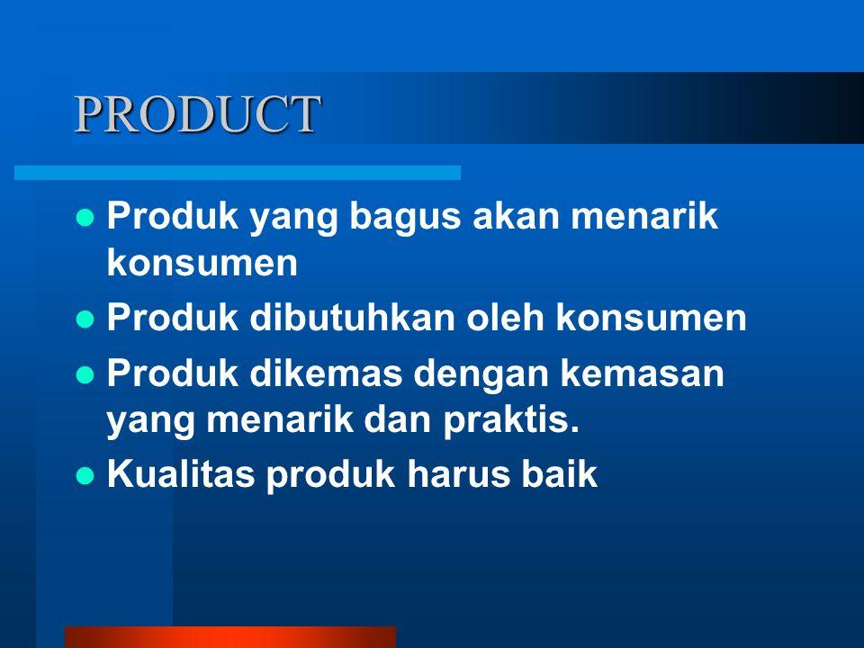 PRODUCT Produk yang bagus akan menarik konsumen Produk dibutuhkan oleh konsumen Produk dikemas dengan kemasan yang menarik dan praktis. Kualitas produ