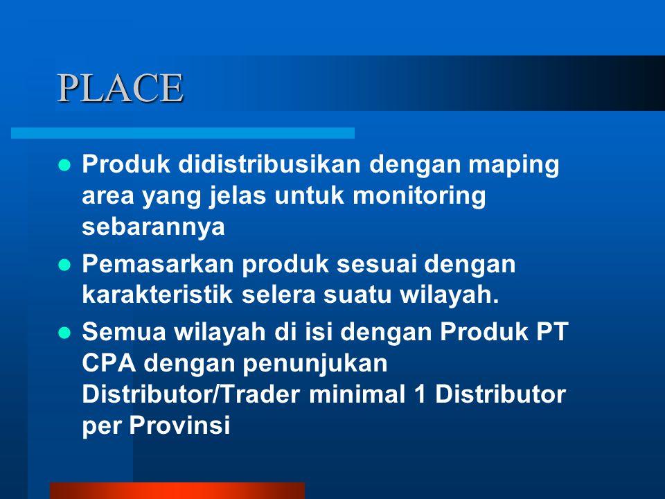 PLACE Produk didistribusikan dengan maping area yang jelas untuk monitoring sebarannya Pemasarkan produk sesuai dengan karakteristik selera suatu wila