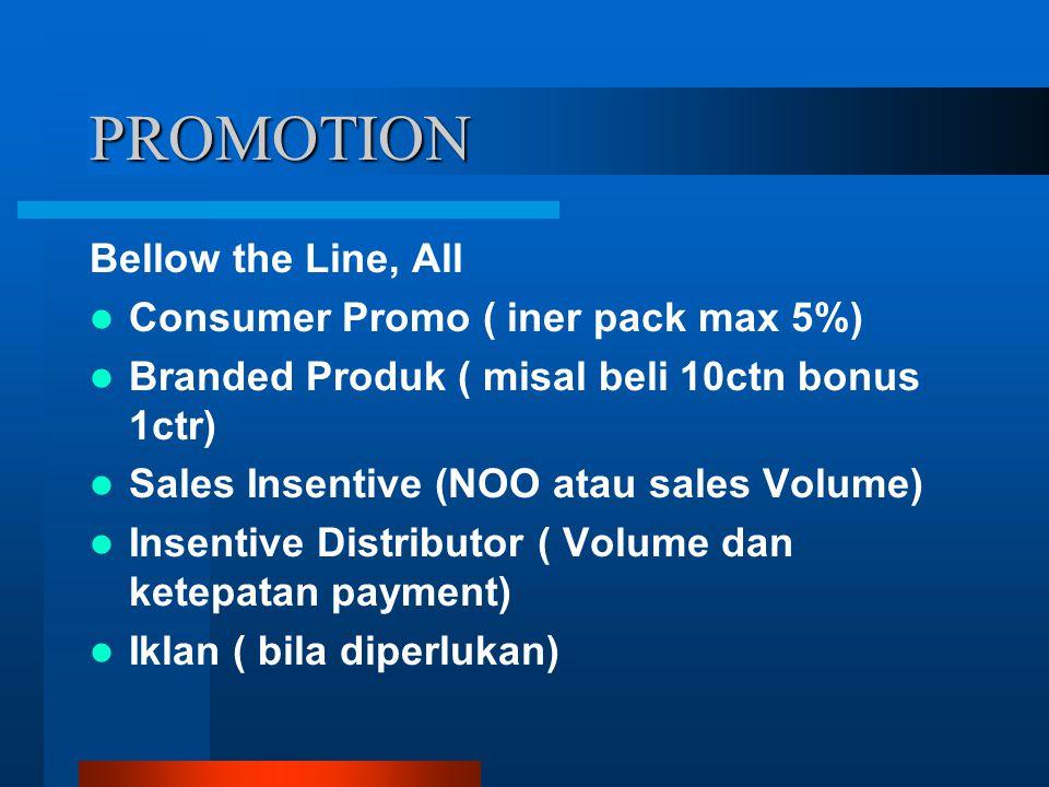 PROMOTION Bellow the Line, All Consumer Promo ( iner pack max 5%) Branded Produk ( misal beli 10ctn bonus 1ctr) Sales Insentive (NOO atau sales Volume
