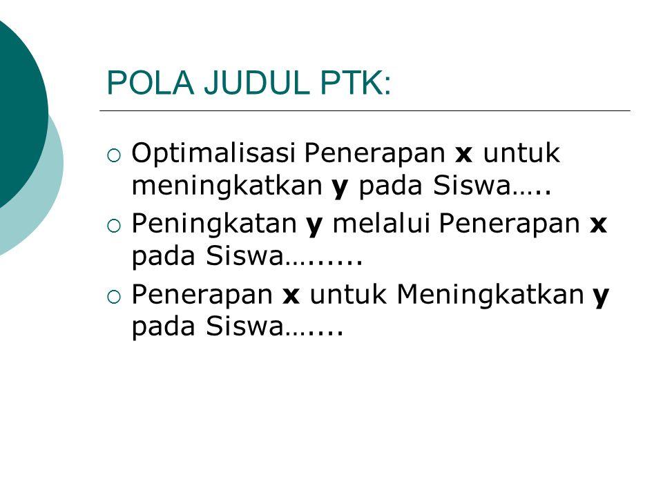 POLA JUDUL PTK:  Optimalisasi Penerapan x untuk meningkatkan y pada Siswa…..