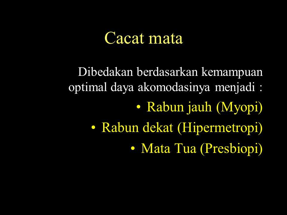 Cacat mata Dibedakan berdasarkan kemampuan optimal daya akomodasinya menjadi : Rabun jauh (Myopi) Rabun dekat (Hipermetropi) Mata Tua (Presbiopi)