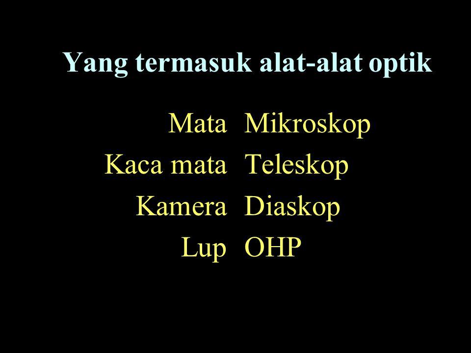 Mata Kaca mata Kamera Lup Mikroskop Teleskop Diaskop OHP Yang termasuk alat-alat optik