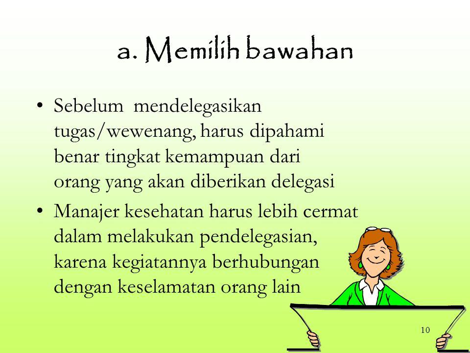 10 a. Memilih bawahan Sebelum mendelegasikan tugas/wewenang, harus dipahami benar tingkat kemampuan dari orang yang akan diberikan delegasi Manajer ke