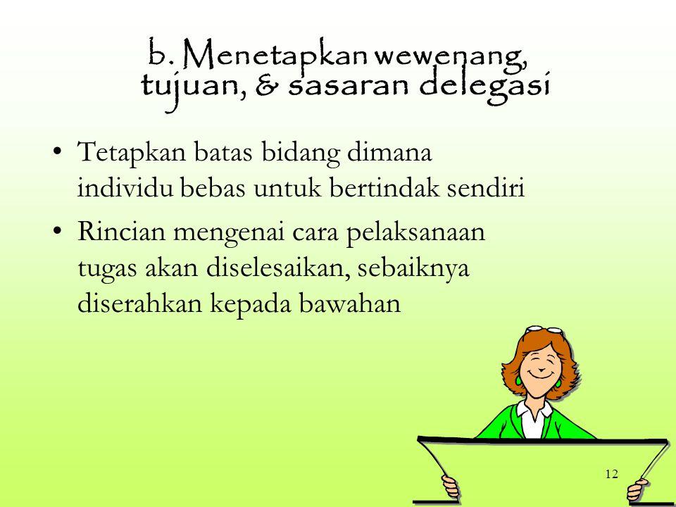 12 b. Menetapkan wewenang, tujuan, & sasaran delegasi Tetapkan batas bidang dimana individu bebas untuk bertindak sendiri Rincian mengenai cara pelaks