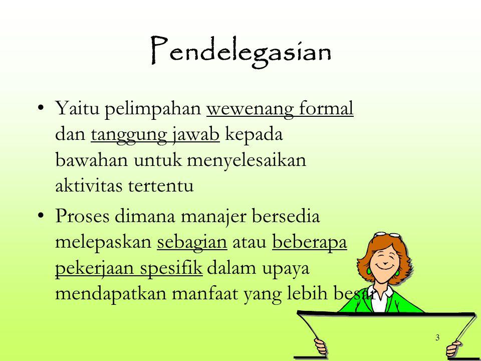3 Pendelegasian Yaitu pelimpahan wewenang formal dan tanggung jawab kepada bawahan untuk menyelesaikan aktivitas tertentu Proses dimana manajer bersed