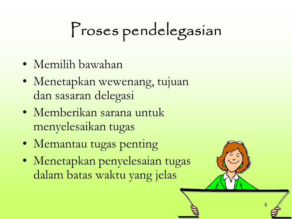 8 Proses pendelegasian Memilih bawahan Menetapkan wewenang, tujuan dan sasaran delegasi Memberikan sarana untuk menyelesaikan tugas Memantau tugas pen