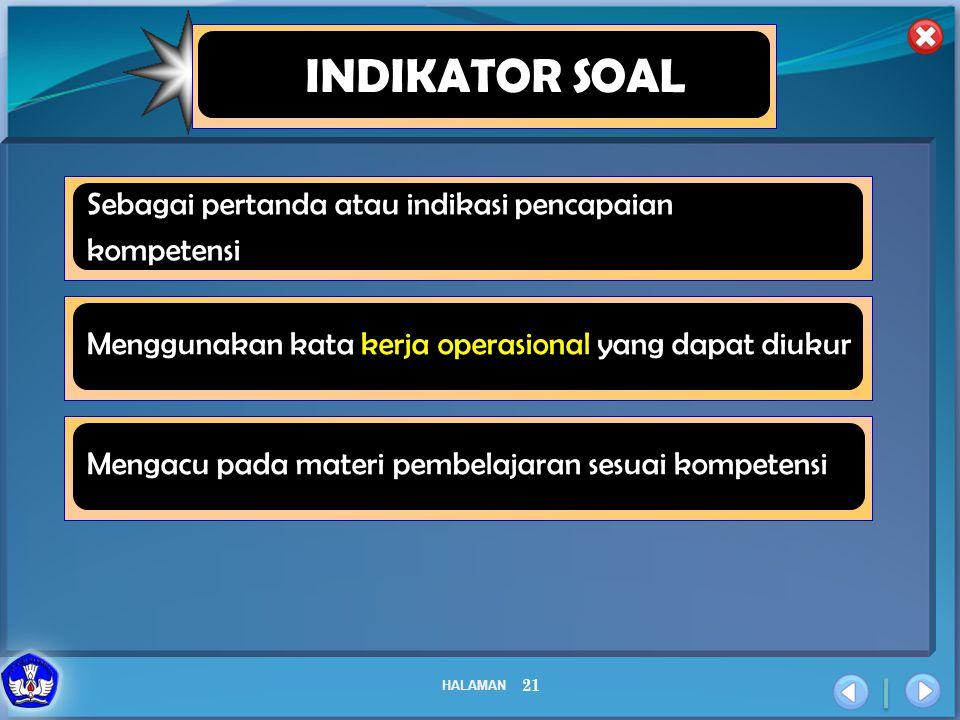 HALAMAN 21 INDIKATOR SOAL Sebagai pertanda atau indikasi pencapaian kompetensi Menggunakan kata kerja operasional yang dapat diukur Mengacu pada mater