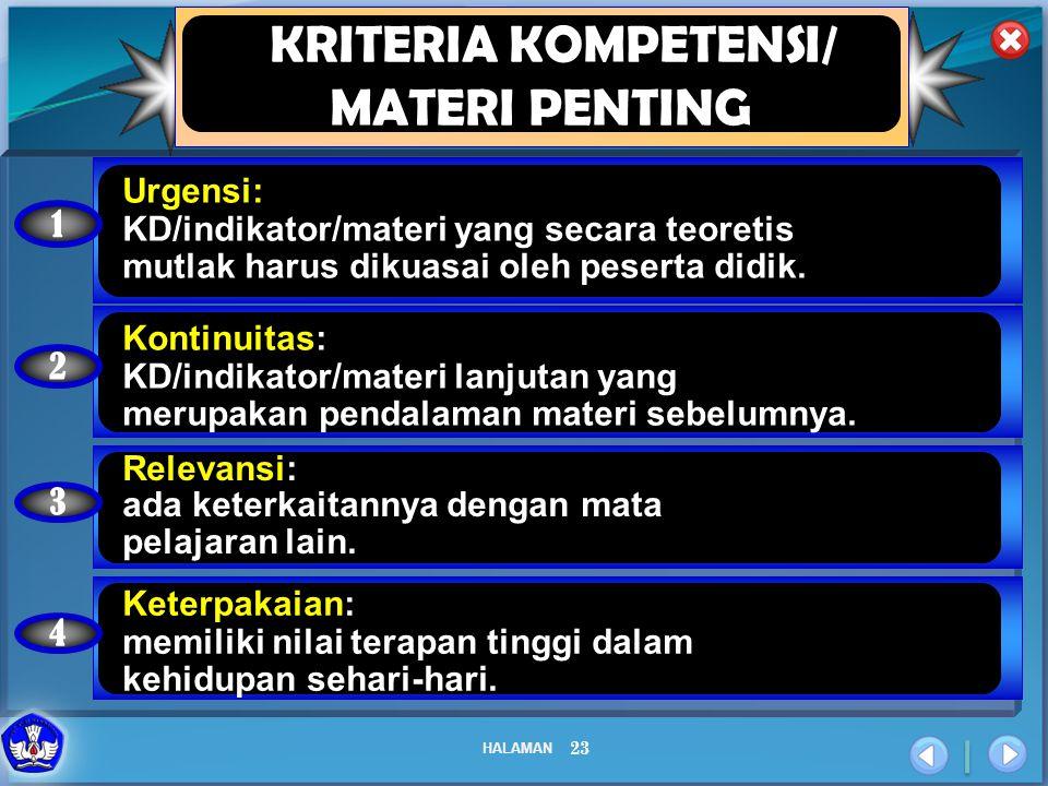 HALAMAN 23 KRITERIA KOMPETENSI/ MATERI PENTING 1 Urgensi: KD/indikator/materi yang secara teoretis mutlak harus dikuasai oleh peserta didik. 2 Kontinu