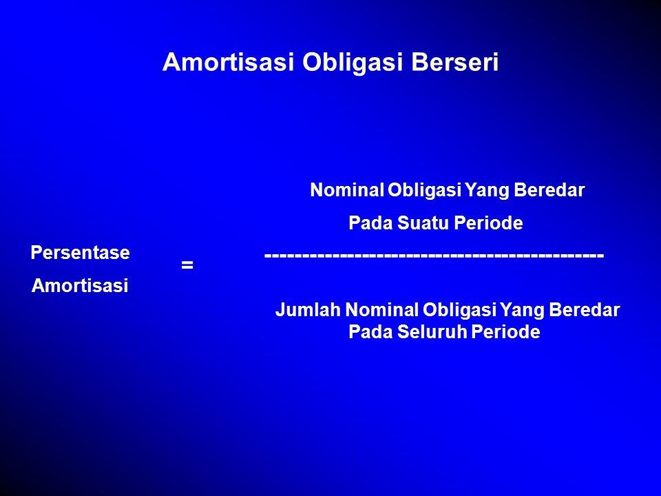 Amortisasi Obligasi Berseri Persentase Amortisasi = Nominal Obligasi Yang Beredar Pada Suatu Periode ---------------------------------------------- Jumlah Nominal Obligasi Yang Beredar Pada Seluruh Periode