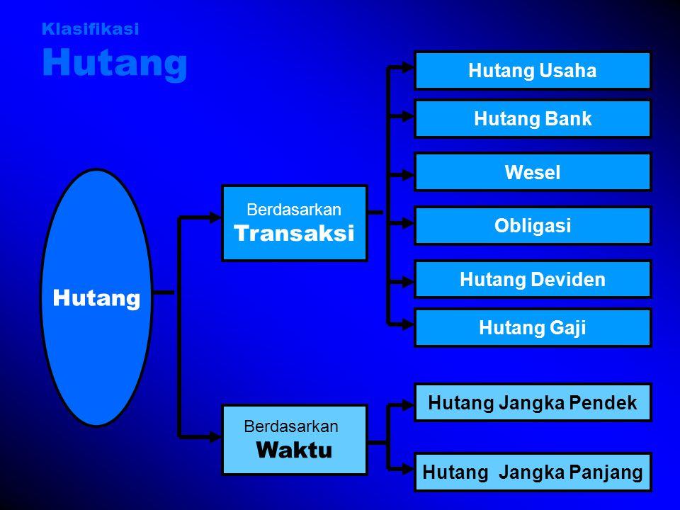 Klasifikasi Hutang Hutang Berdasarkan Transaksi Berdasarkan Waktu Hutang Bank Wesel Hutang Jangka Pendek Hutang Jangka Panjang Hutang Deviden Obligasi Hutang Usaha Hutang Gaji