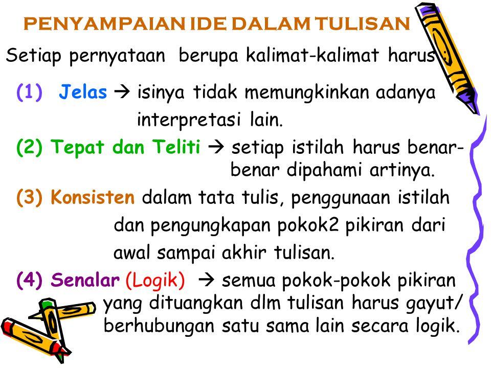 PENYAMPAIAN IDE DALAM TULISAN Setiap pernyataan berupa kalimat-kalimat harus : (1) Jelas  isinya tidak memungkinkan adanya interpretasi lain. (2) Tep