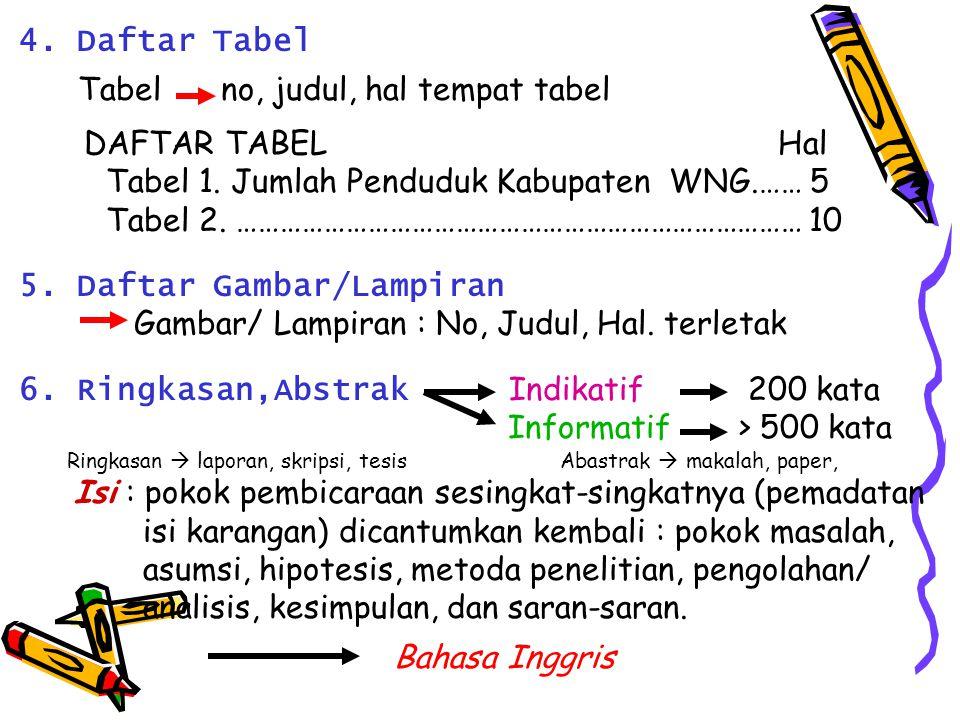 4. Daftar Tabel Tabel no, judul, hal tempat tabel DAFTAR TABELHal Tabel 1. Jumlah Penduduk Kabupaten WNG.…… 5 Tabel 2. …………………………………………………………………… 10 5