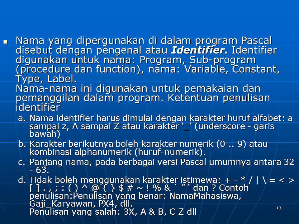 13 Nama yang dipergunakan di dalam program Pascal disebut dengan pengenal atau Identifier. Identifier digunakan untuk nama: Program, Sub-program (proc