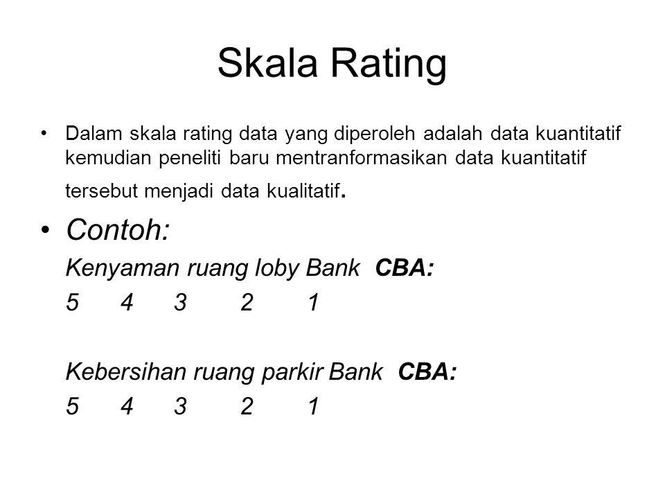 DESAIN SKALA Skala dalam penelitian ada empat tingkatan: 1.Skala Nominal 2.Skala Ordinal 3.Skala Interval 4.Skala Rasio