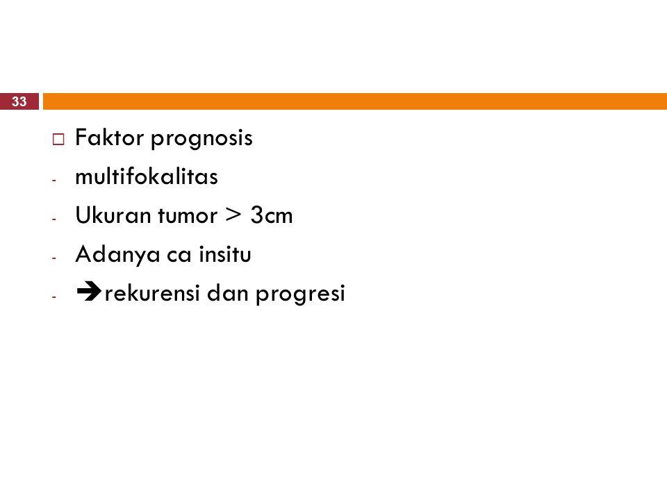 33  Faktor prognosis - multifokalitas - Ukuran tumor > 3cm - Adanya ca insitu -  rekurensi dan progresi