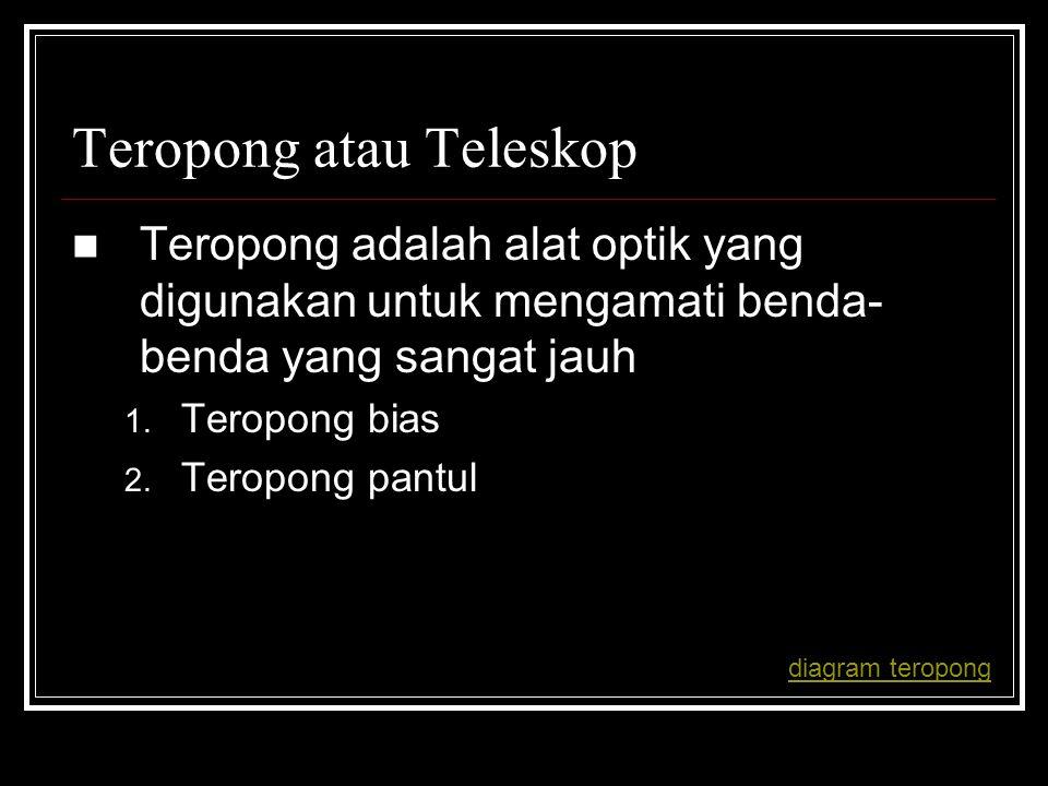 Teropong atau Teleskop Teropong adalah alat optik yang digunakan untuk mengamati benda- benda yang sangat jauh 1. Teropong bias 2. Teropong pantul dia