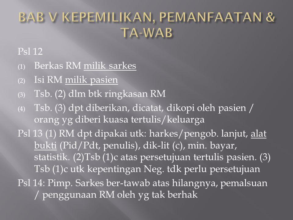 Psl 12 (1) Berkas RM milik sarkes (2) Isi RM milik pasien (3) Tsb. (2) dlm btk ringkasan RM (4) Tsb. (3) dpt diberikan, dicatat, dikopi oleh pasien /