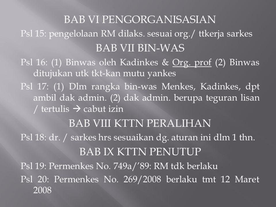 BAB VI PENGORGANISASIAN Psl 15: pengelolaan RM dilaks. sesuai org./ ttkerja sarkes BAB VII BIN-WAS Psl 16: (1) Binwas oleh Kadinkes & Org. prof (2) Bi