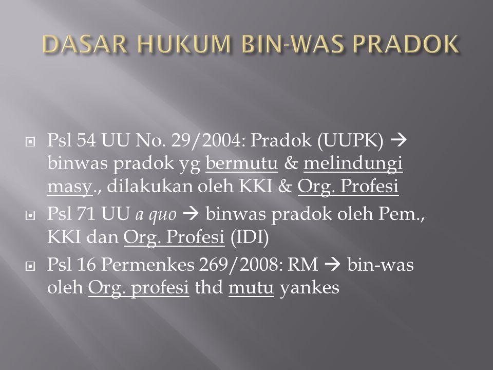  Psl 54 UU No. 29/2004: Pradok (UUPK)  binwas pradok yg bermutu & melindungi masy., dilakukan oleh KKI & Org. Profesi  Psl 71 UU a quo  binwas pra