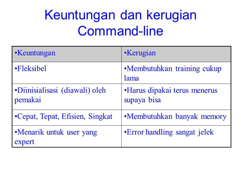 Keuntungan dan kerugian Command-line KeuntunganKerugian FleksibelMembutuhkan training cukup lama Diinisialisasi (diawali) oleh pemakai Harus dipakai t