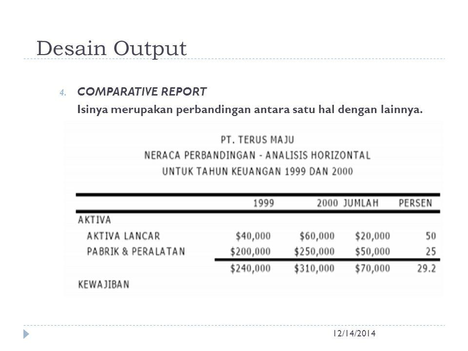 Desain Output 12/14/2014 4. COMPARATIVE REPORT Isinya merupakan perbandingan antara satu hal dengan lainnya.
