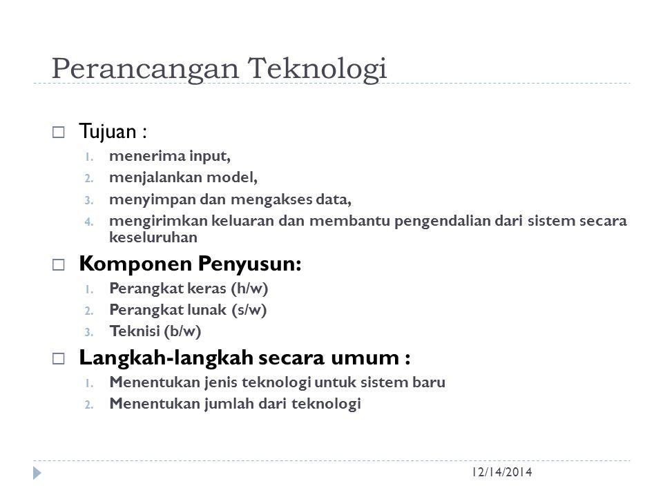 Perancangan Teknologi 12/14/2014  Tujuan : 1. menerima input, 2. menjalankan model, 3. menyimpan dan mengakses data, 4. mengirimkan keluaran dan memb