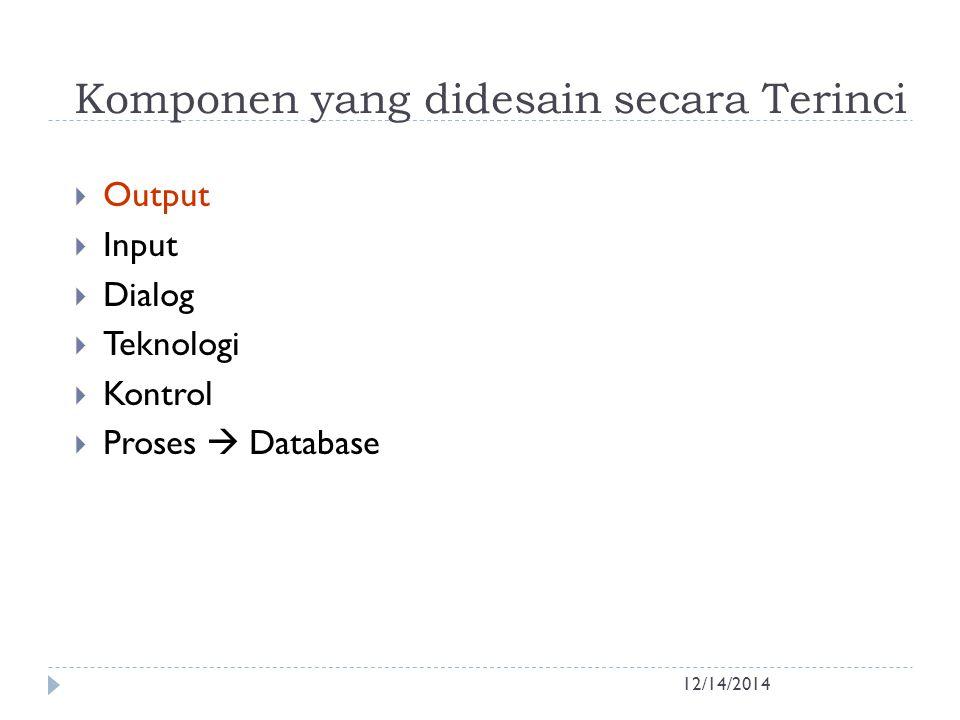 Desain Output 12/14/2014  Perancangan Bentuk Laporan / Report  Pedoman Perancangan Report: 1.