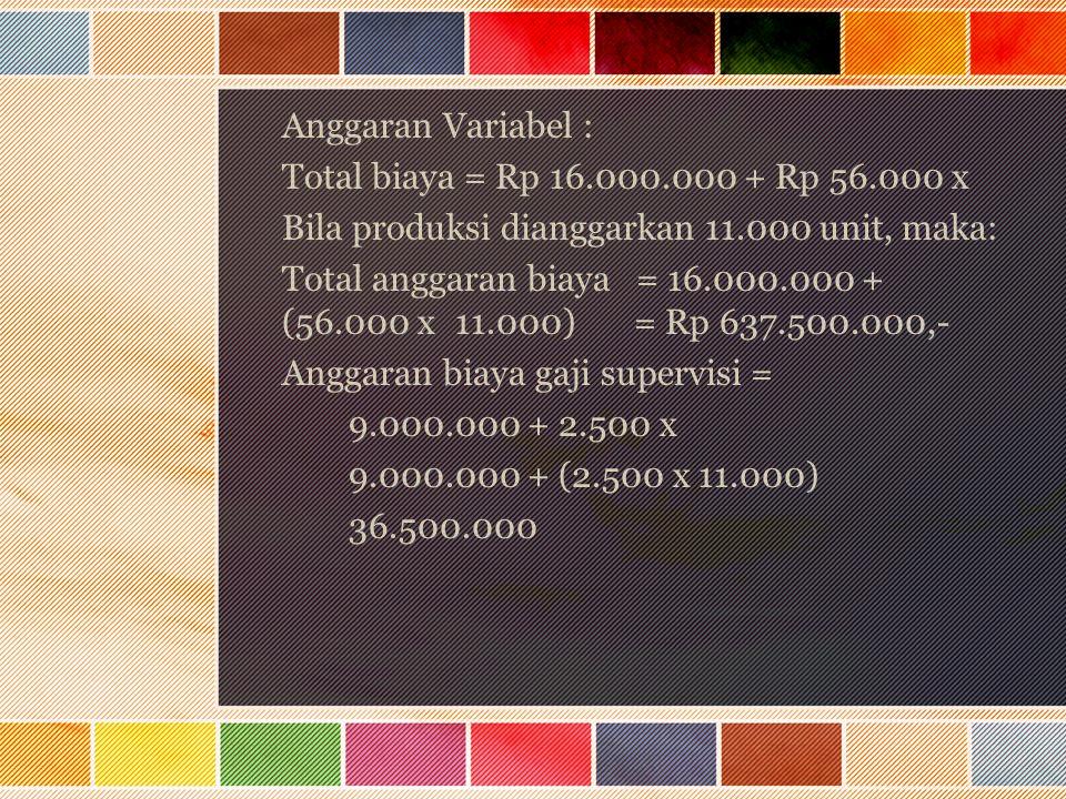 Anggaran Variabel : Total biaya = Rp 16.000.000 + Rp 56.000 x Bila produksi dianggarkan 11.000 unit, maka: Total anggaran biaya = 16.000.000 + (56.000