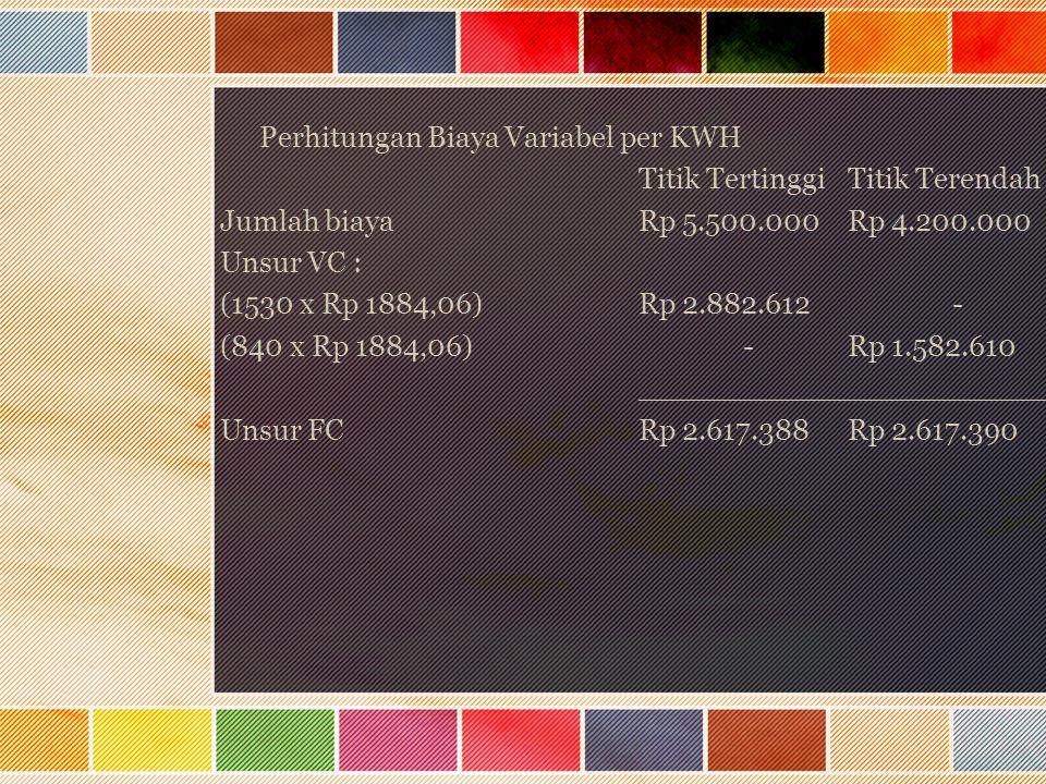 Perhitungan Biaya Variabel per KWH Titik TertinggiTitik Terendah Jumlah biayaRp 5.500.000Rp 4.200.000 Unsur VC : (1530 x Rp 1884,06)Rp 2.882.612- (840