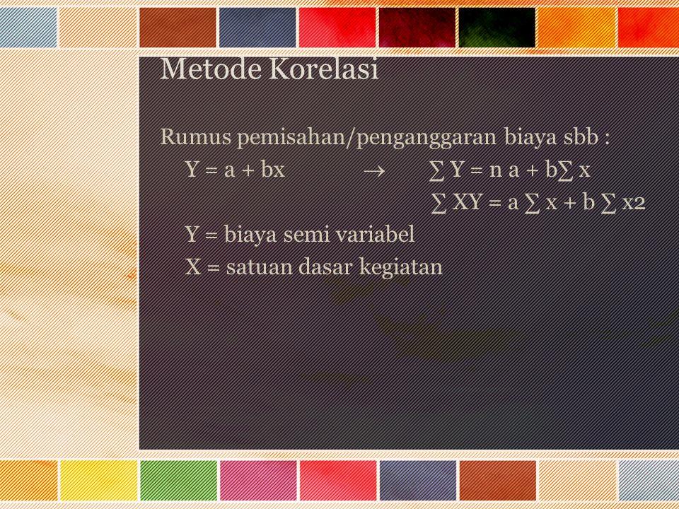 Metode Korelasi Rumus pemisahan/penganggaran biaya sbb : Y = a + bx  ∑ Y = n a + b∑ x ∑ XY = a ∑ x + b ∑ x2 Y = biaya semi variabel X = satuan dasar