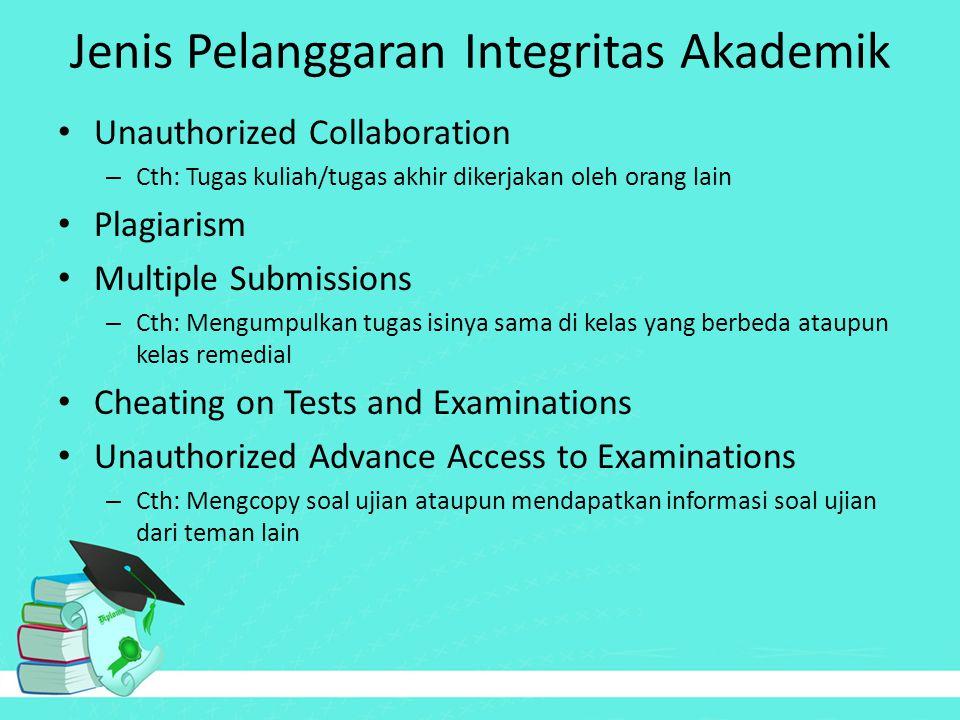 Jenis Pelanggaran Integritas Akademik Unauthorized Collaboration – Cth: Tugas kuliah/tugas akhir dikerjakan oleh orang lain Plagiarism Multiple Submis