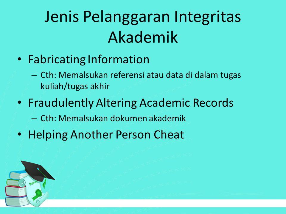 Jenis Pelanggaran Integritas Akademik Fabricating Information – Cth: Memalsukan referensi atau data di dalam tugas kuliah/tugas akhir Fraudulently Alt